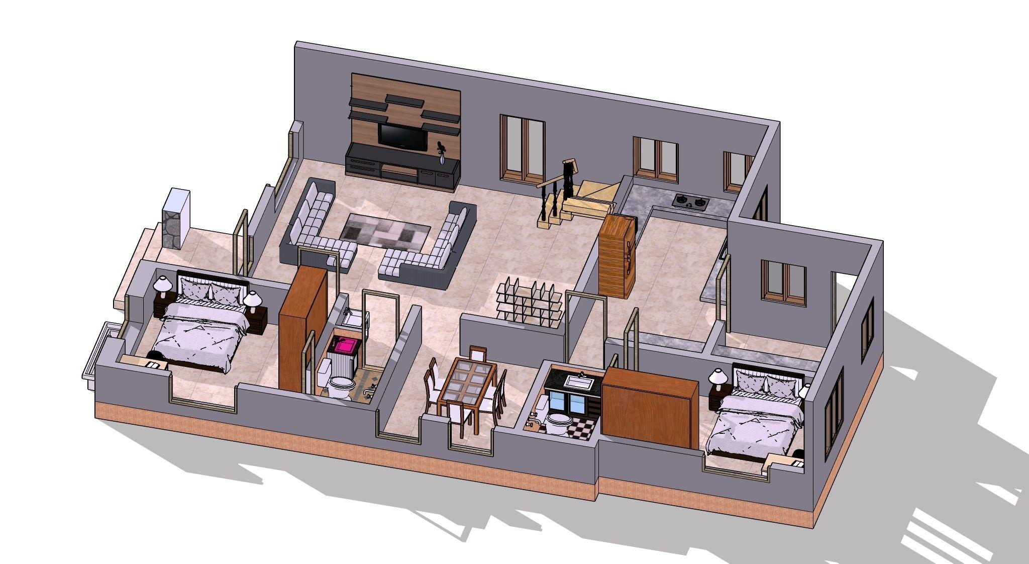 Visualisation intérieur d'une maison